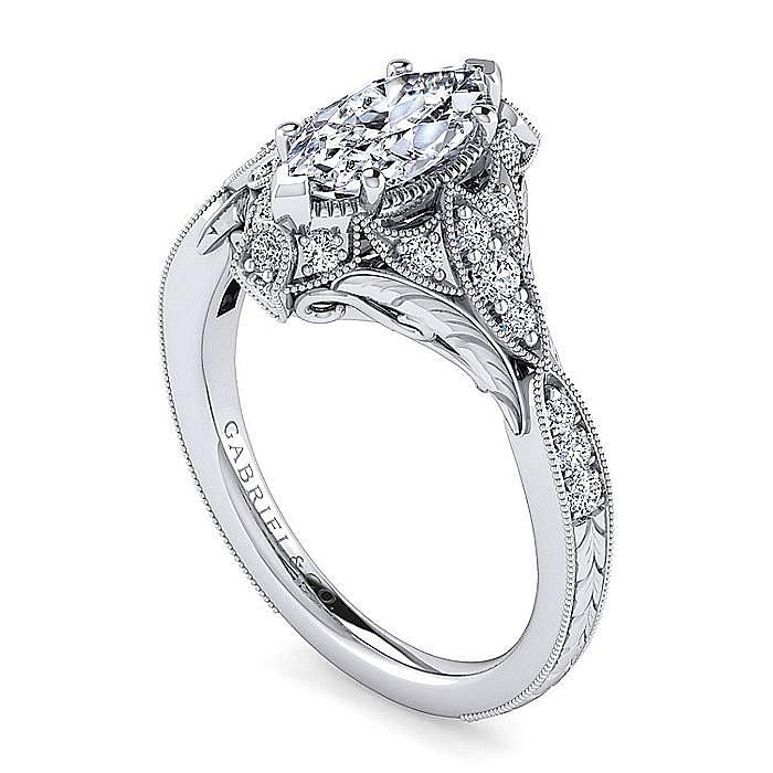 Unique Platinum Vintage Inspired Marquise Shape Diamond Halo Engagement Ring