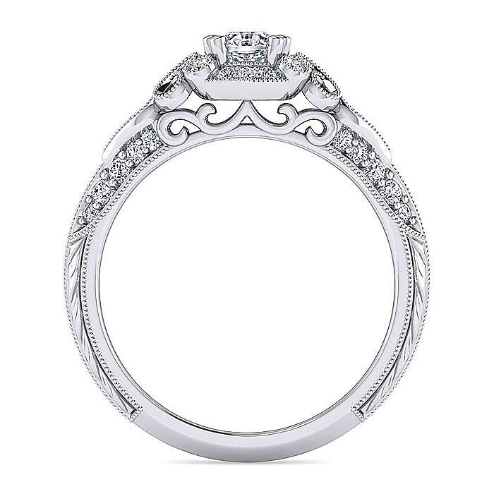 Unique Platinum Vintage Inspired Oval Diamond Halo Engagement Ring