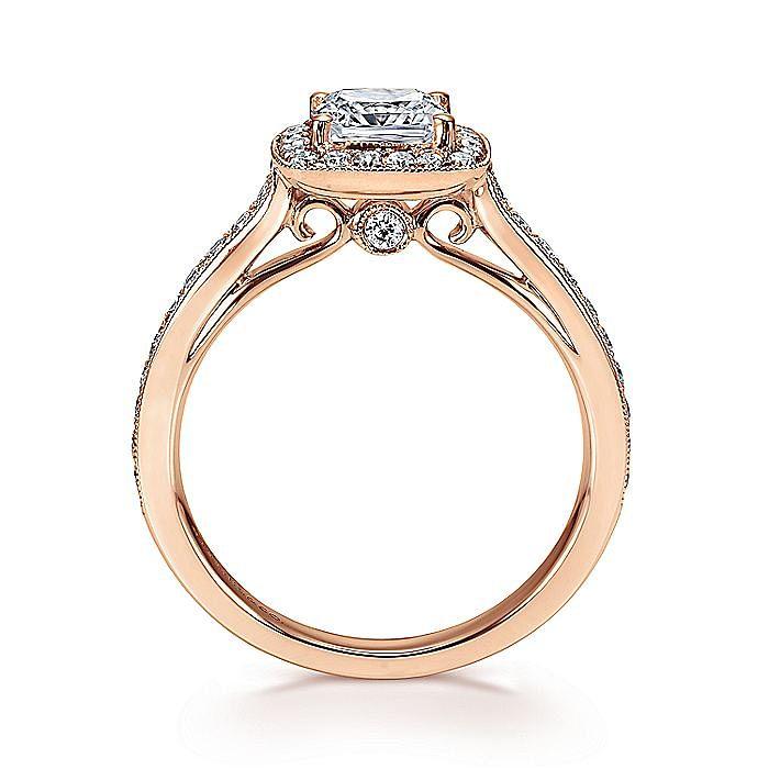 Vintage 14K Rose Gold Cushion Halo Diamond Engagement Ring