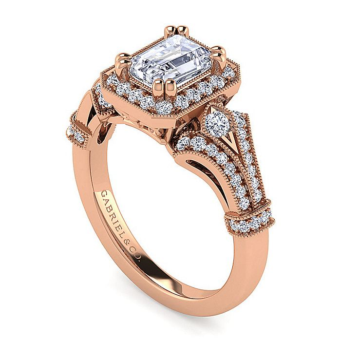 Vintage 14K Rose Gold Halo Emerald Cut Diamond Engagement Ring