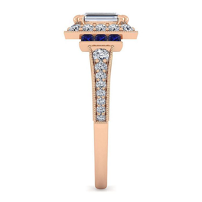 Vintage 14K Rose Gold Halo Emerald Cut Diamond and Sapphire Engagement Ring