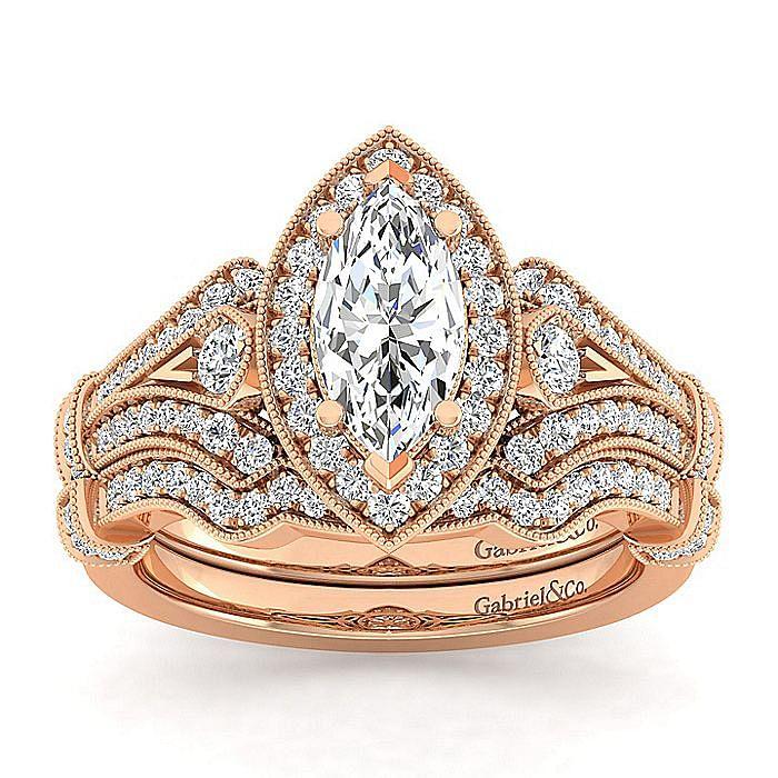 Vintage 14K Rose Gold Marquise Halo Diamond Engagement Ring