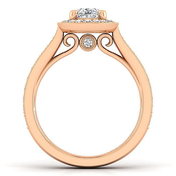 Vintage 14K Rose Gold Oval Halo Diamond Engagement Ring