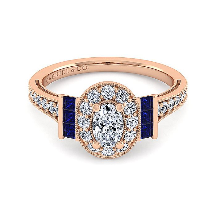 Vintage 14K Rose Gold Oval Halo Diamond and Sapphire Engagement Ring