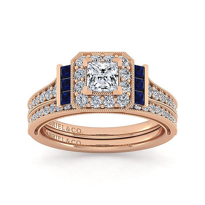 Vintage 14K Rose Gold Princess Halo Diamond and Sapphire Engagement Ring