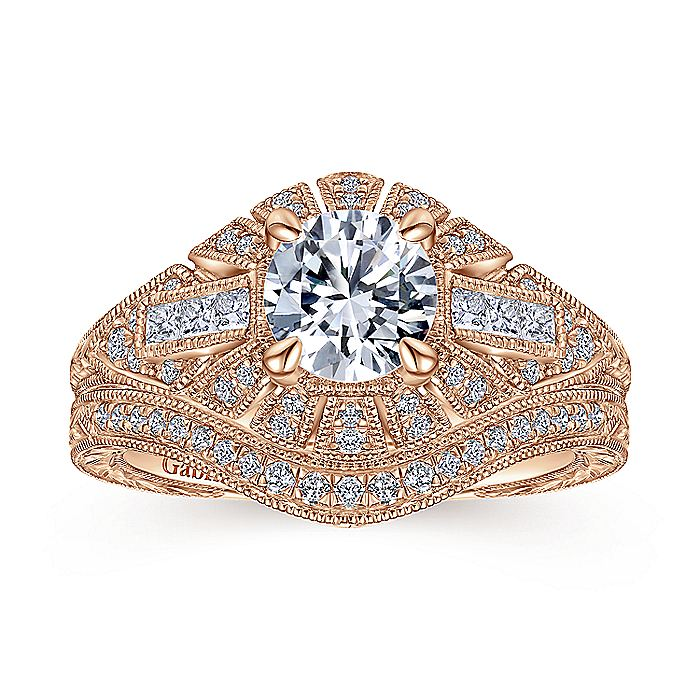 Vintage 14K Rose Gold Round Diamond Engagement Ring