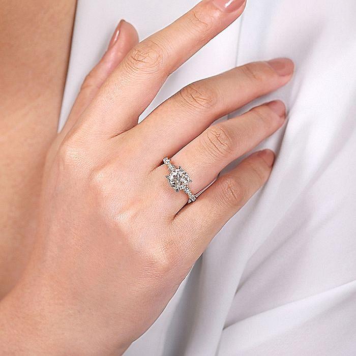 Vintage 14K Rose Gold Round Morganite and Diamond Engagement Ring