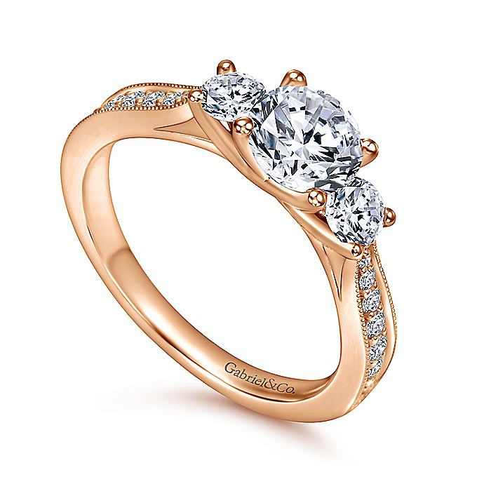 Vintage 14K Rose Gold Round Three Stone Diamond Engagement Ring