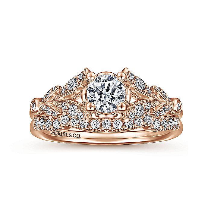 Vintage 14K Rose Gold Split Shank Round Diamond Engagement Ring