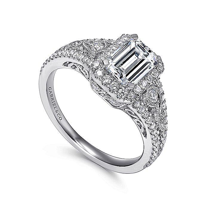 Vintage 14K White Gold Emerald Halo Diamond Engagement Ring