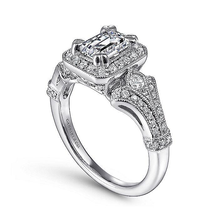 Vintage 14K White Gold Halo Emerald Cut Diamond Engagement Ring