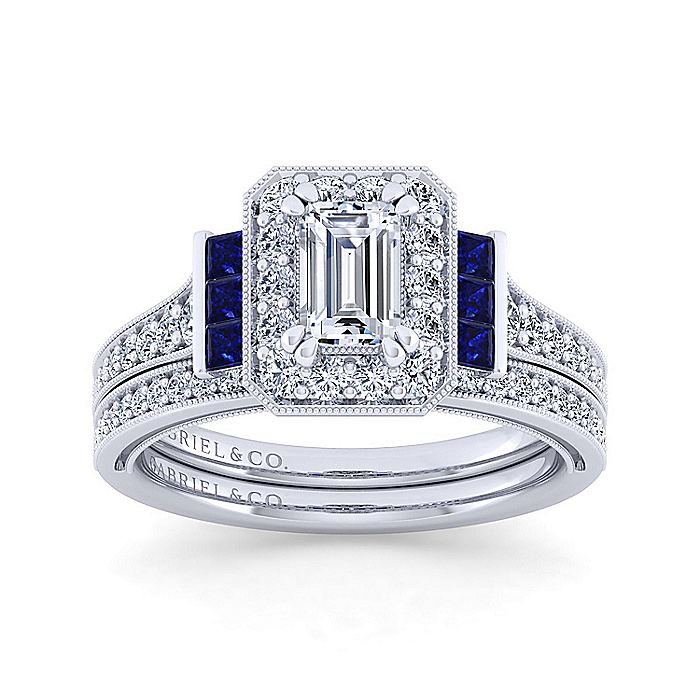 Vintage 14K White Gold Halo Emerald Cut Sapphire and Diamond Engagement Ring