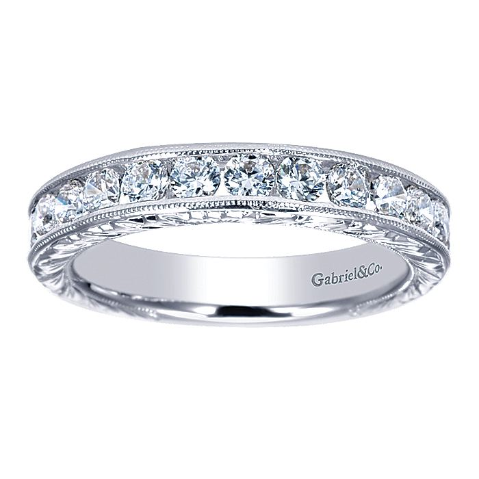 Vintage 14K White Gold Hand Engraved Channel Set Diamond Wedding Band