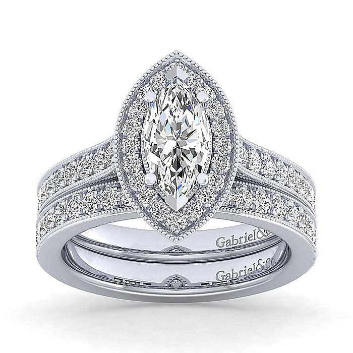 Vintage 14K White Gold Marquise Halo Diamond Engagement Ring
