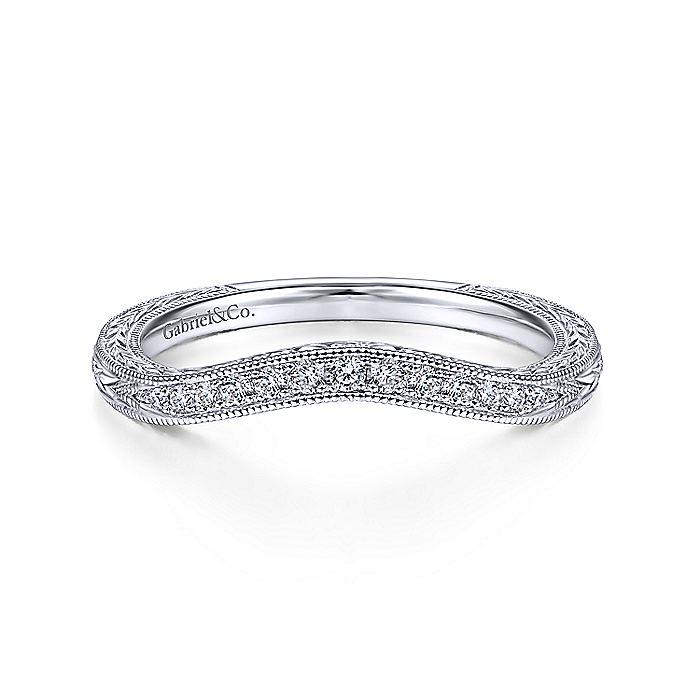 Vintage 14K White Gold Matching Wedding Band