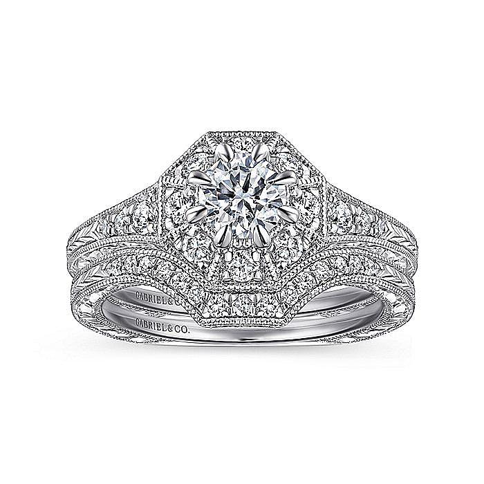 Vintage 14K White Gold Octagonal Halo Diamond Engagement Ring