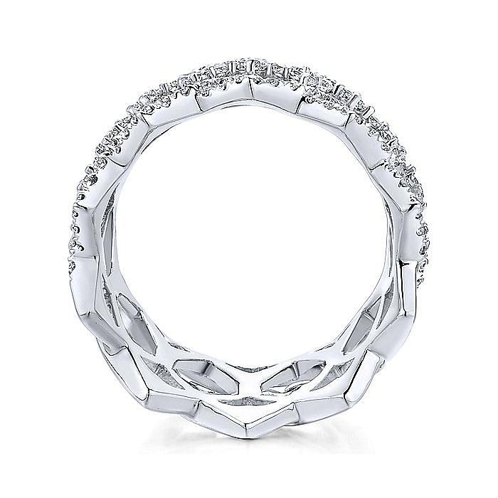 Vintage 14K White Gold Openwork Twisted Diamond Ring