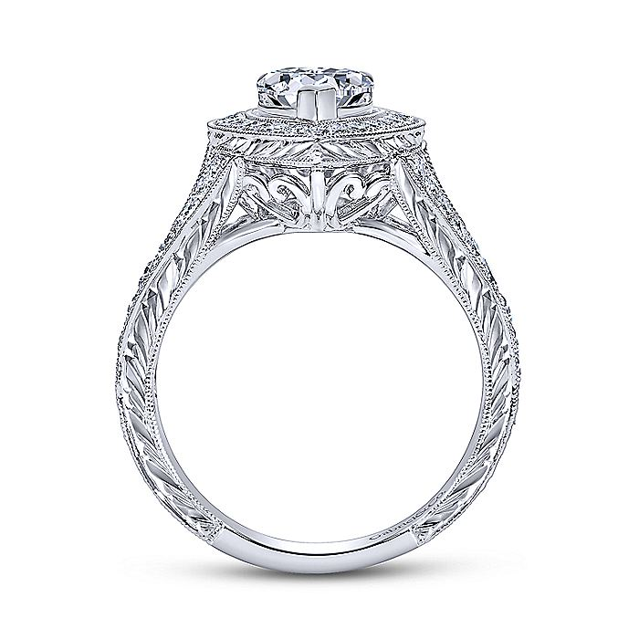 Vintage 14K White Gold Pear Shape Halo Diamond Engagement Ring