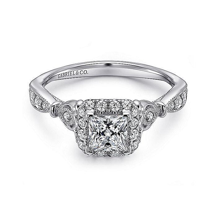 Vintage 14K White Gold Princess Halo Diamond Engagement Ring