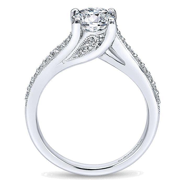 Vintage 14K White Gold Round Bypass Diamond Engagement Ring
