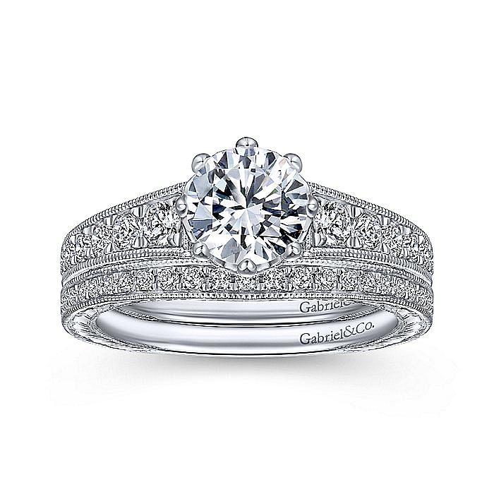 Vintage 14K White Gold Round Diamond Engagement Ring