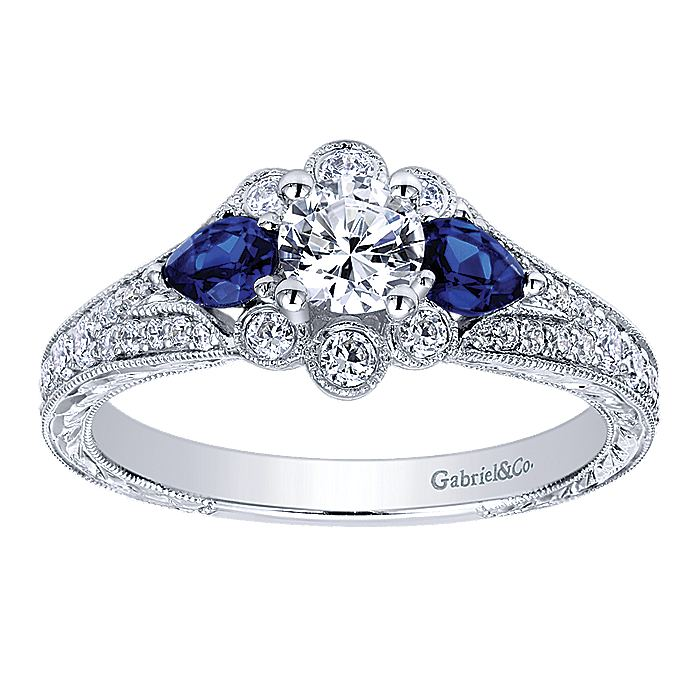 Vintage 14K White Gold Round Halo Sapphire and Diamond Engagement Ring