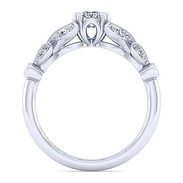 Vintage 14K White Gold Split Shank Cushion Cut Diamond Engagement Ring