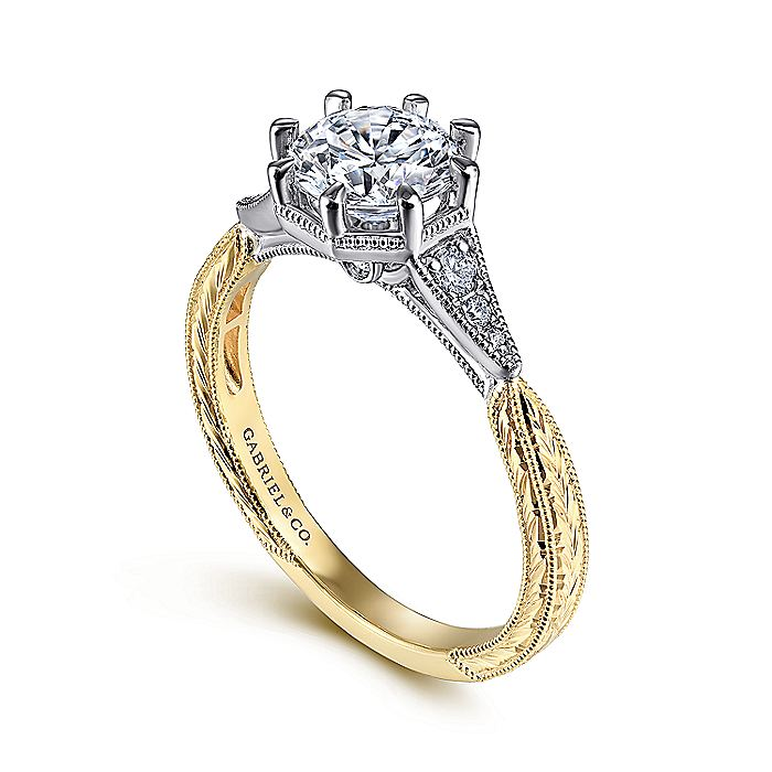 Vintage 14K White-Yellow Gold Round Diamond Engagement Ring