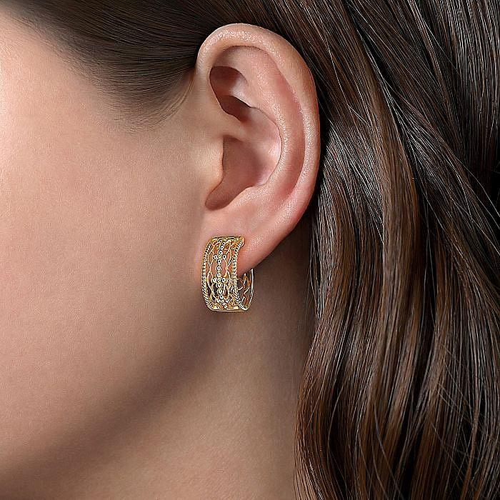 Vintage 14K Yellow Gold 20MM Plain Earrings