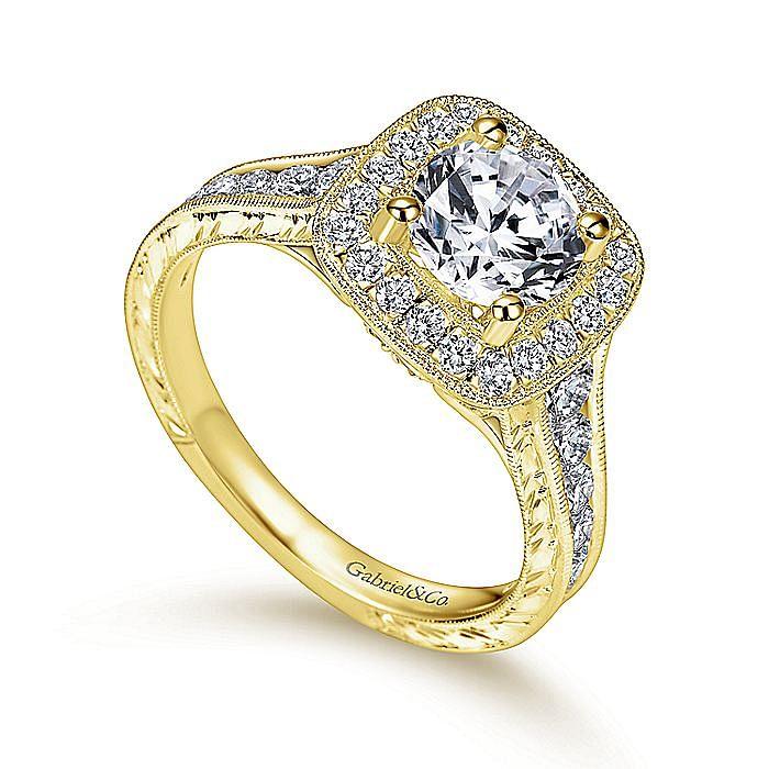 Vintage 14K Yellow Gold Cushion Halo Round Diamond Engagement Ring
