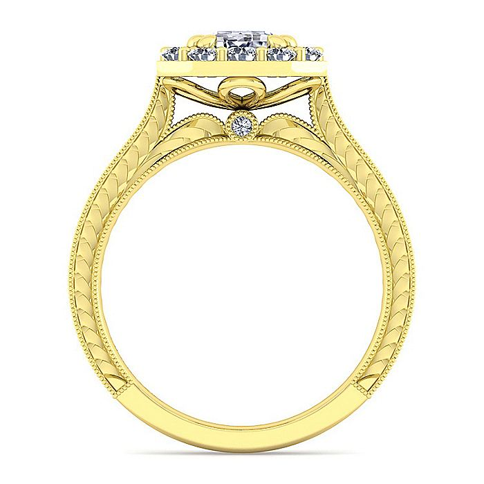 Vintage 14K Yellow Gold Emerald Halo Diamond Engagement Ring
