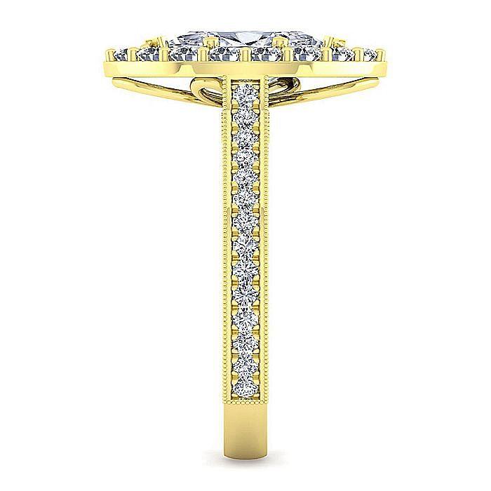 Vintage 14K Yellow Gold Marquise Halo Diamond Engagement Ring
