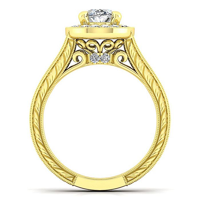 Vintage 14K Yellow Gold Oval Halo Diamond Engagement Ring