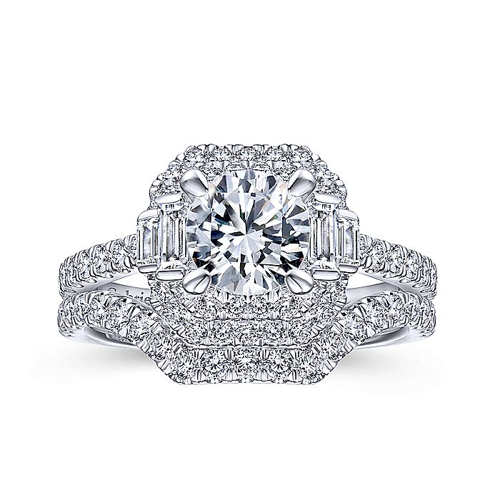 Vintage 14k White Gold Cushion Double Halo Round Diamond Engagement Ring