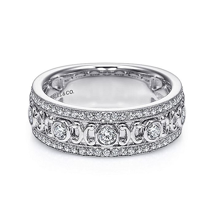 Vintage 14k White Gold Fancy Diamond Anniversary Band
