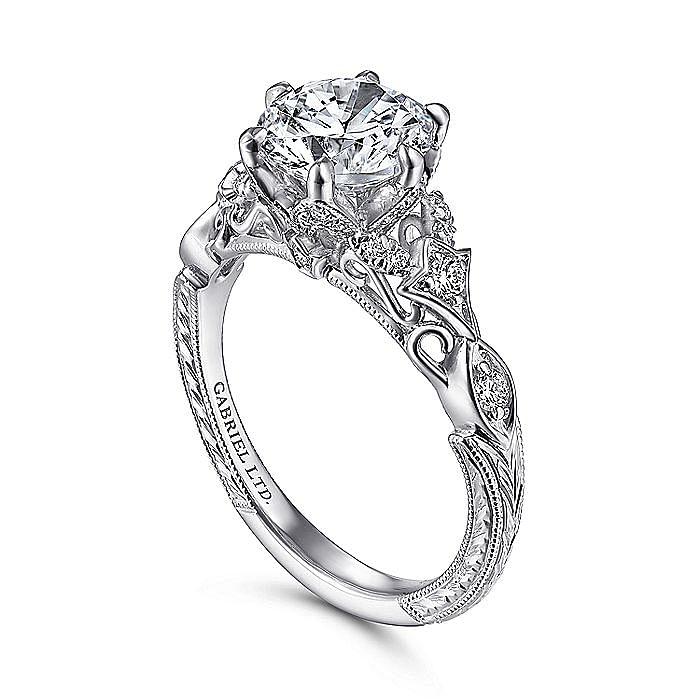 Vintage 18K White Gold Round Diamond Engagement Ring