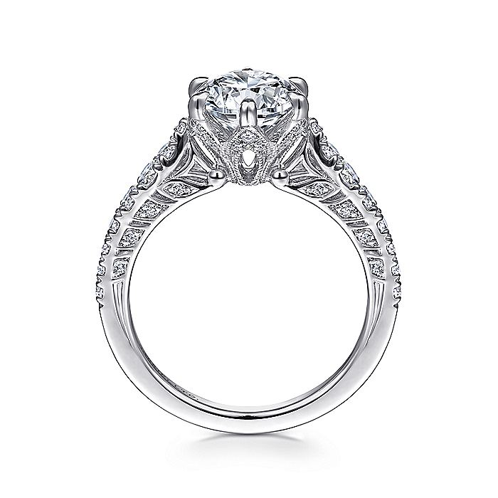 Vintage 18K White Gold Round Diamond Engagement Ring