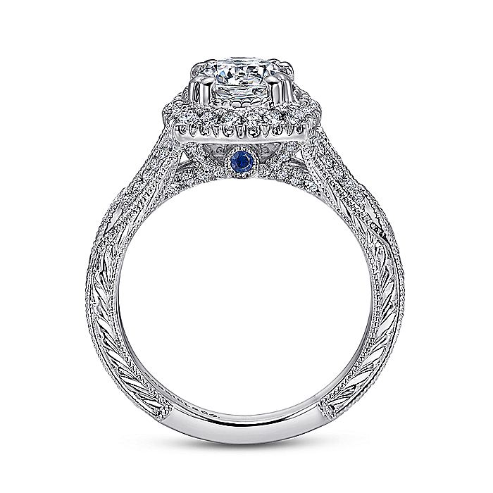 Vintage 18K White Gold Round Halo Sapphire and Halo Diamond Engagement Ring