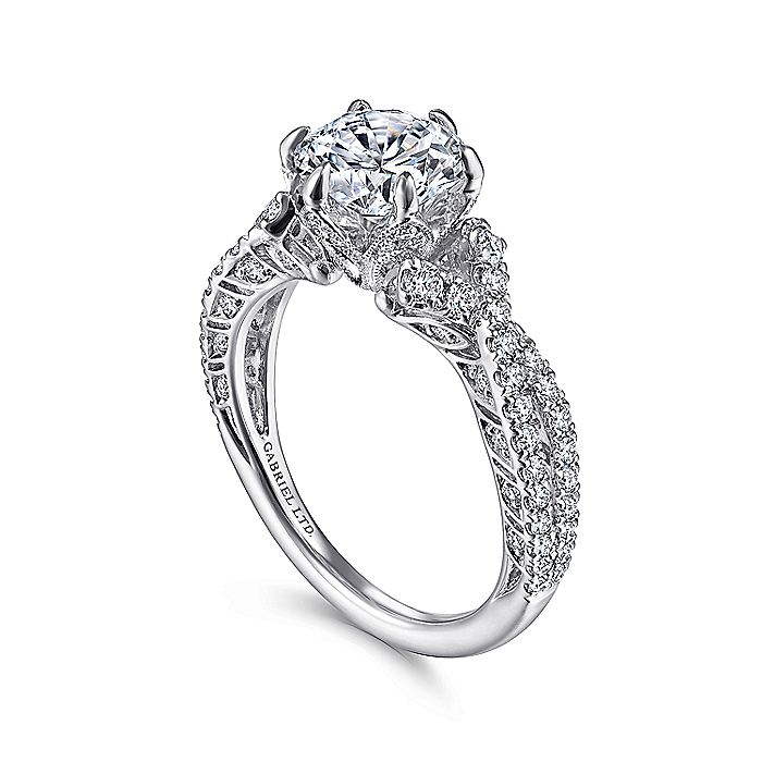 Vintage 18K White Gold Twisted Round Diamond Engagement Ring