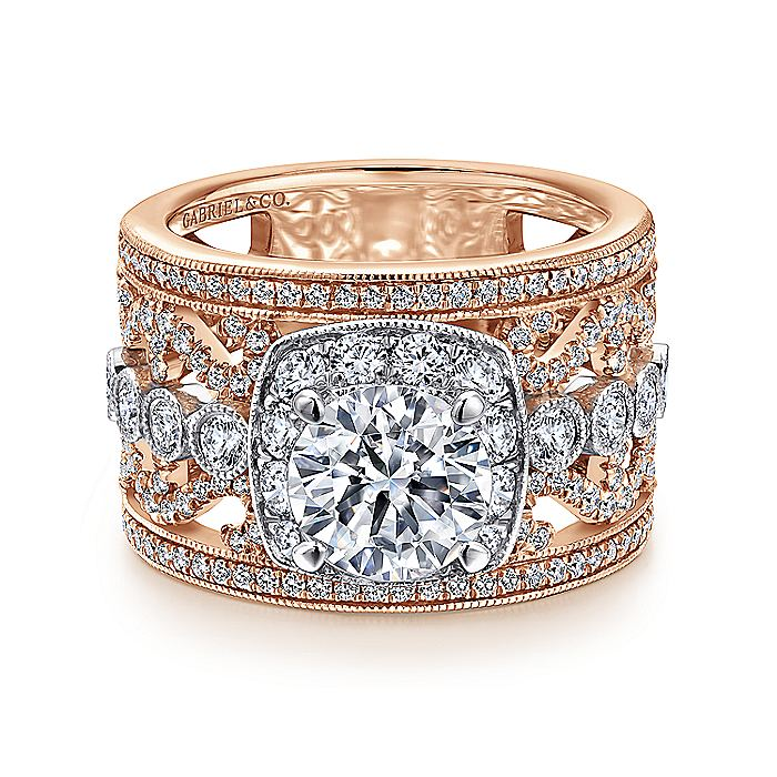 Vintage 18K White-Rose Gold Round Halo Diamond Engagement Ring
