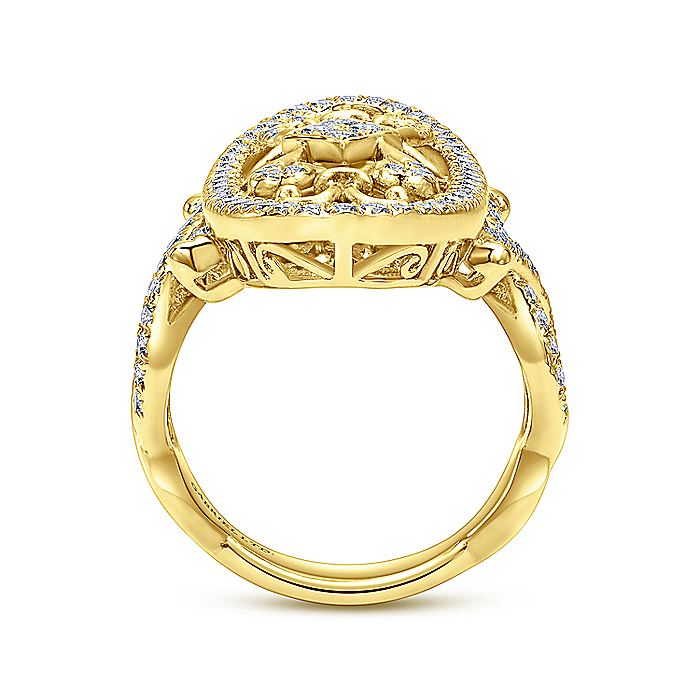 Vintage 18K Yellow Gold Oval Openwork Pave Diamond Ring