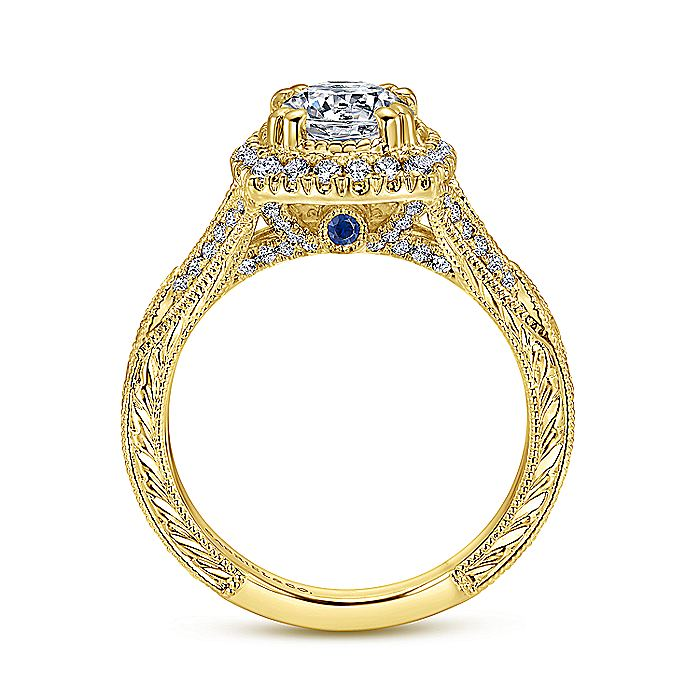 Vintage 18K Yellow Gold Round Halo Sapphire and Diamond Engagement Ring