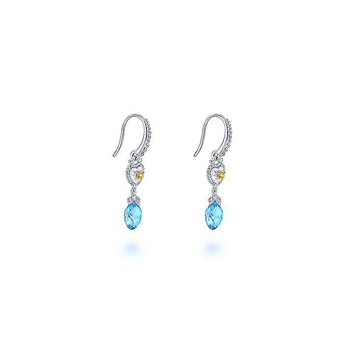 Vintage 925 Sterling Silver-18k Yellow Gold Inspired Swiss Blue Topaz Drop Earrings
