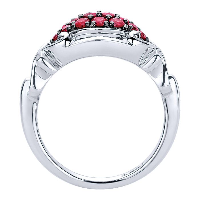 Vintage 925 Sterling Silver Marquise Ruby Cluster Ring