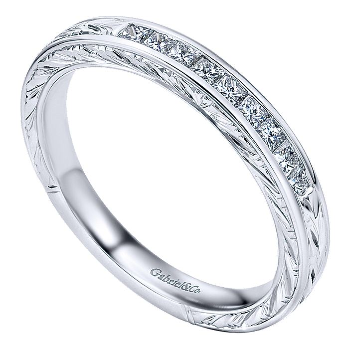 Vintage Hand Carved 14k White Gold Princess Cut 9 Stone Channel Set Band