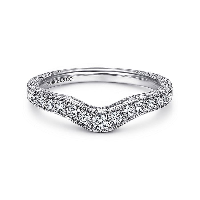 Vintage Inspired  Curved 14K White Gold Micro Pavé Diamond Wedding Band with Engraving