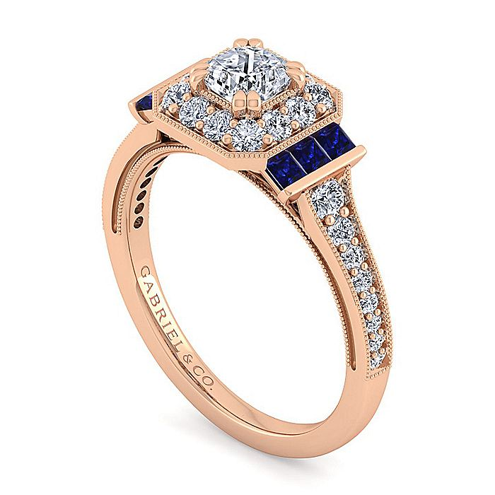 Vintage Inspired 14K Rose Gold Cushion Halo Diamond and Sapphire Engagement Ring