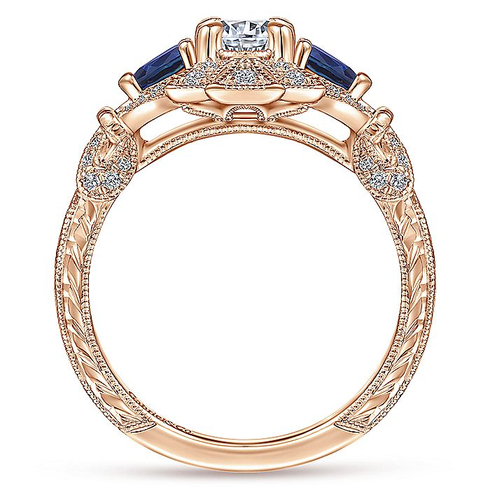 Vintage Inspired 14K Rose Gold Fancy Three Stone Halo Round Sapphire and Diamond Engagement Ring