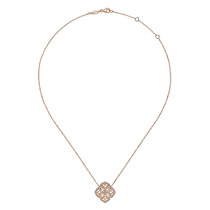 Vintage Inspired 14K Rose Gold Filigree Diamond Pendant Necklace