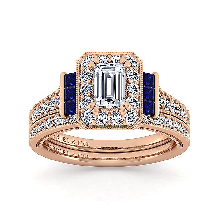 Vintage Inspired 14K Rose Gold Halo Emerald Cut Diamond and Sapphire Engagement Ring